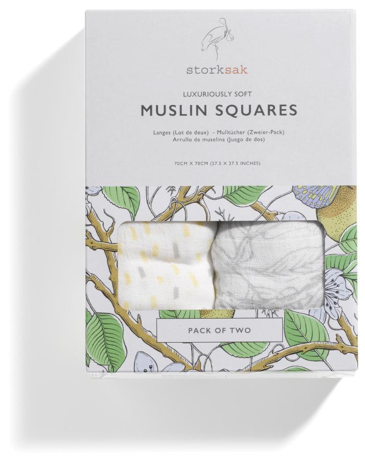 Storksak Garden & Raindot Muslin Squares - Pack of 2