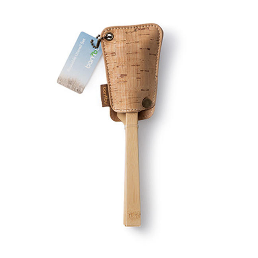 Bambu Bamboo Utensil Travel Set with Cork Pouch