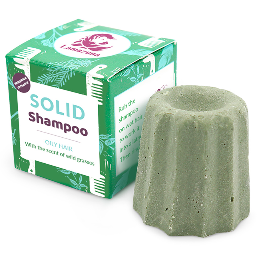 Lamazuna Solid Wild Grass Shampoo - Oily Hair - 55g