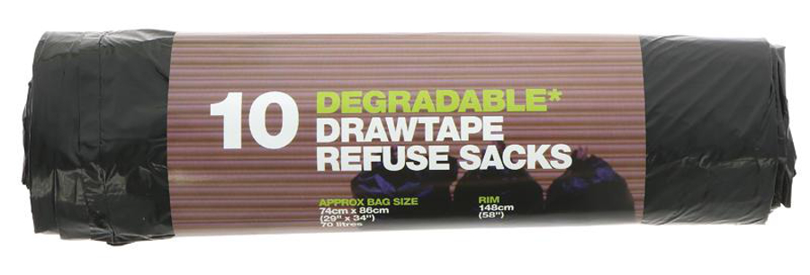 d2w Degradable Drawtape Refuse Sacks - 70L - Roll of 10