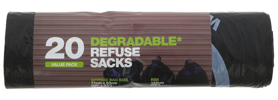 d2w Degrdable Refuse Sacks - 70L - Roll of 20