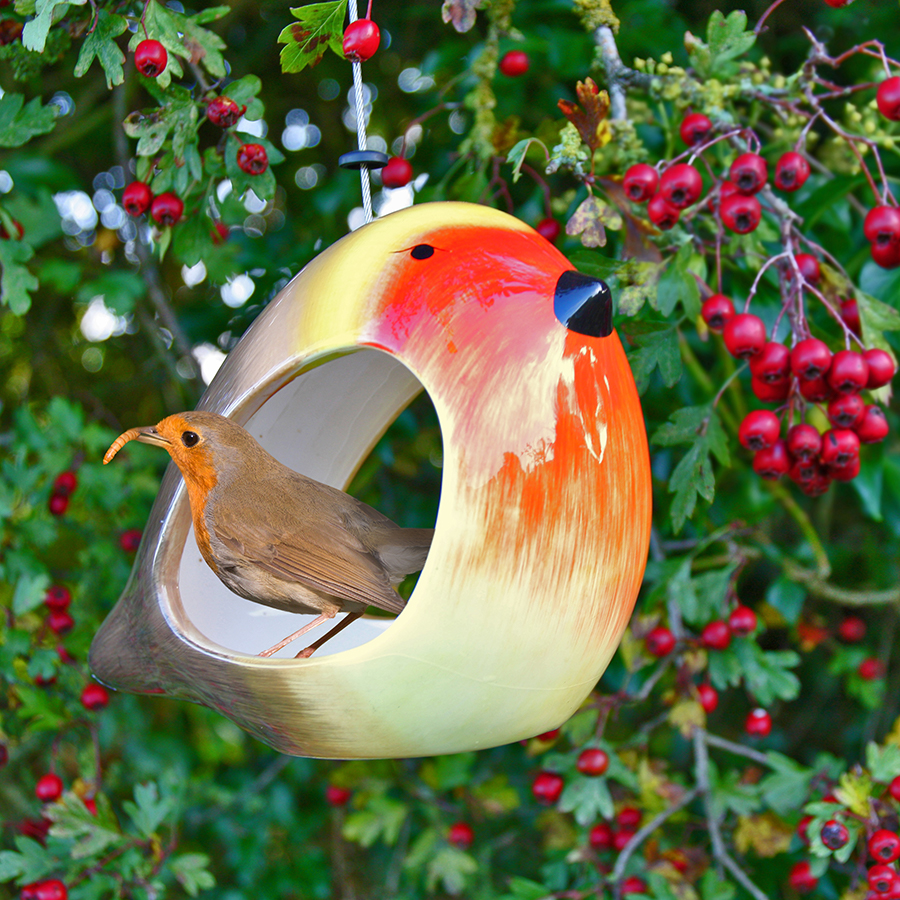 Ceramic Robin Bird Feeder - Wildlife World