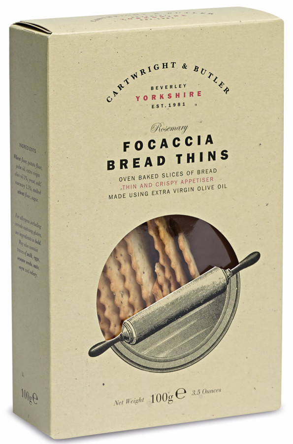Cartwright & Butler Rosemary Focaccia Bread Thins - 100g