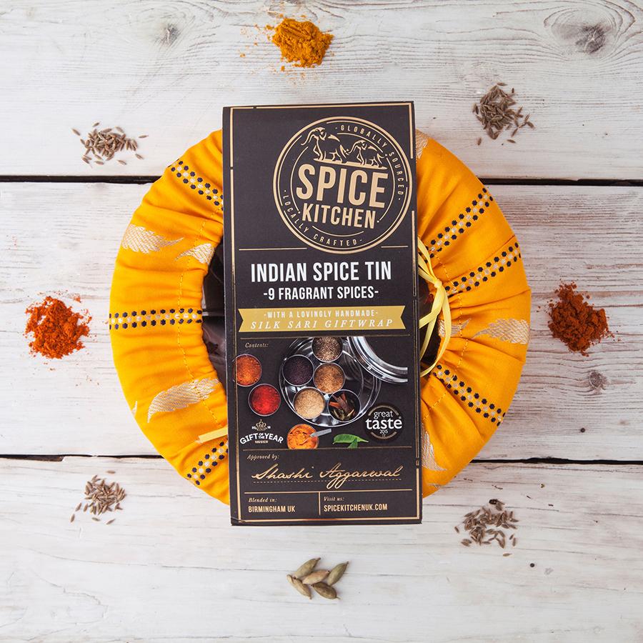 Indian Spice Gift Tin with Sari Wrap