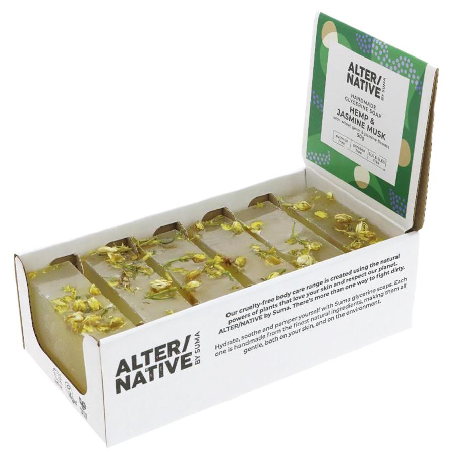 Alternative by Suma Glycerine Soap - Hemp & Jasmine Musk - 6 x 90g