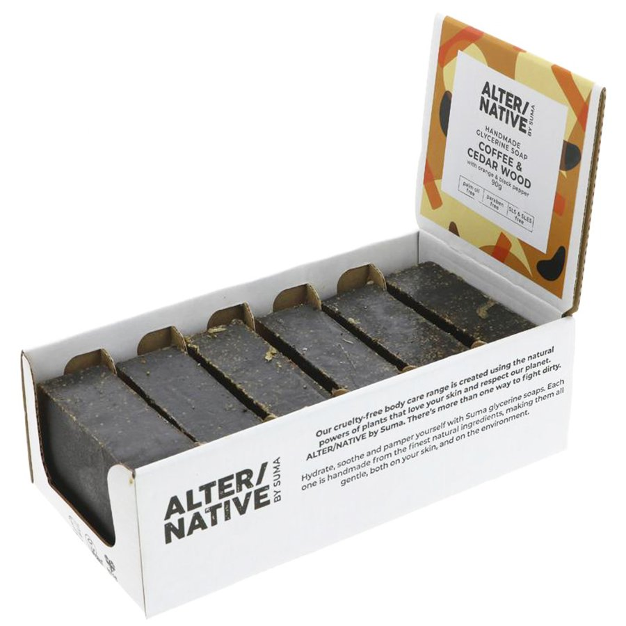 Alternative by Suma Glycerine Soap - Coffee & Cedarwood - 6 x 90g