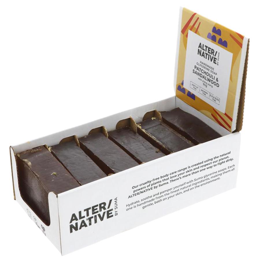 Alternative by Suma Glycerine Soap - Patchouli & Sandalwood - 6 x 90g
