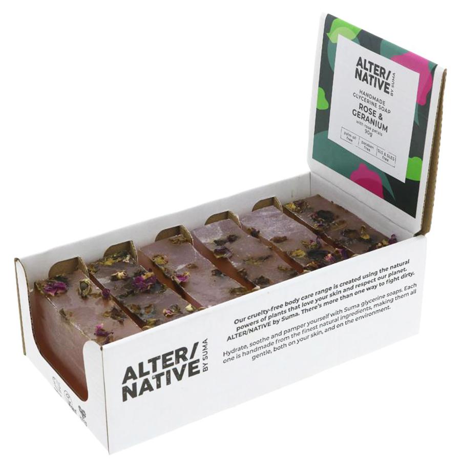 Alternative by Suma Glycerine Soap - Rose & Geranium - 6 x 90g