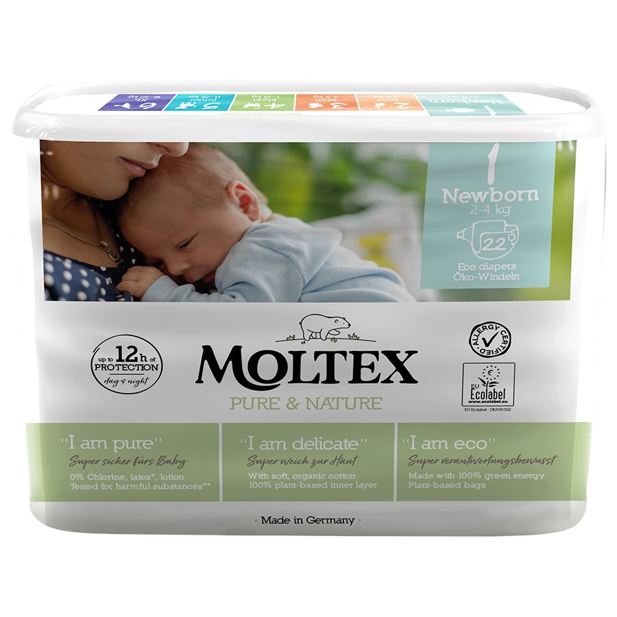Moltex Pure & Nature Disposable Nappies - Newborn - Size 1 - Pack of 22