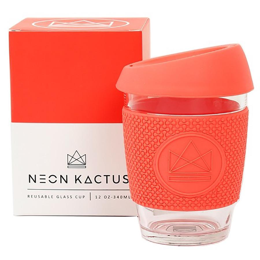 Neon Kactus Reusable Glass Cup - Coral - 340ml