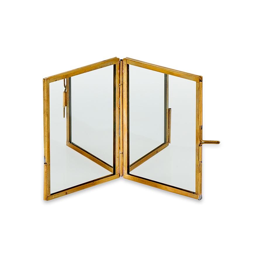 Kiko Antique Brass Folding Mirror - Small