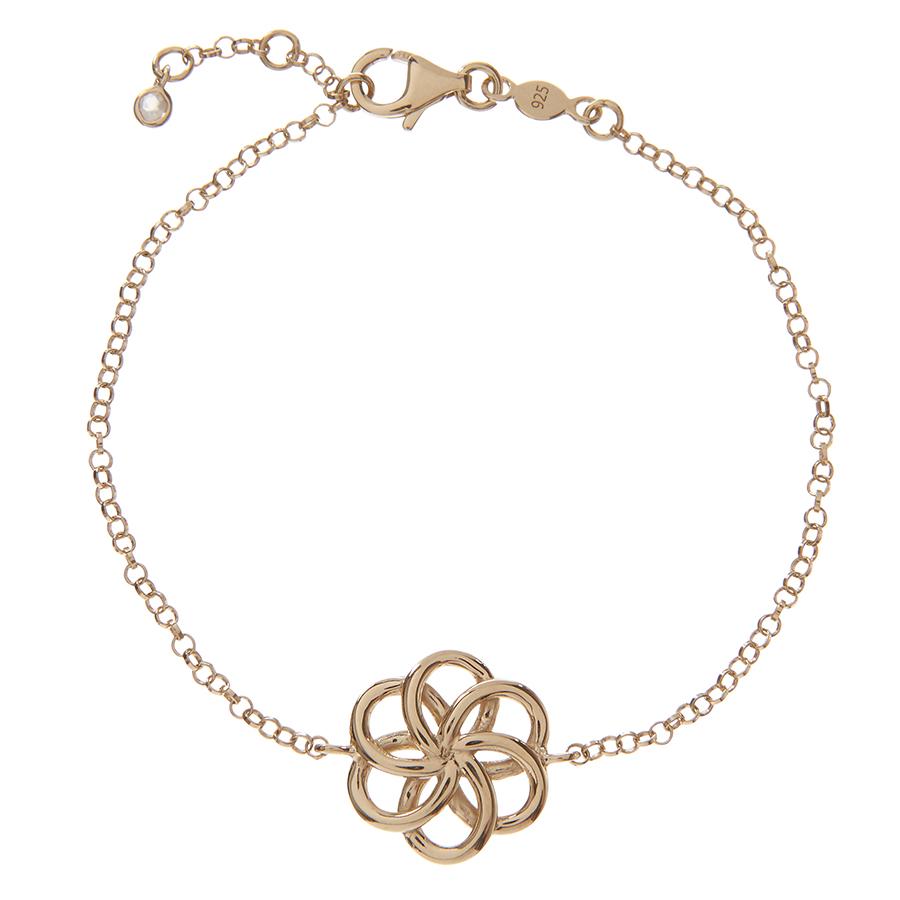 Kashka London Faith Sterling Silver & Gold Bracelet with Rose Quartz Drop