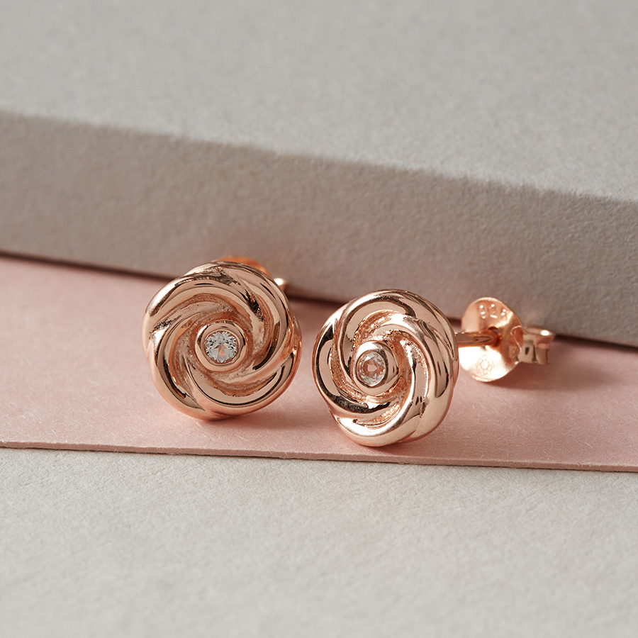 Kashka London Joy Sterling Silver Rose Gold Vermeil Earrings With White Topaz Kashka London
