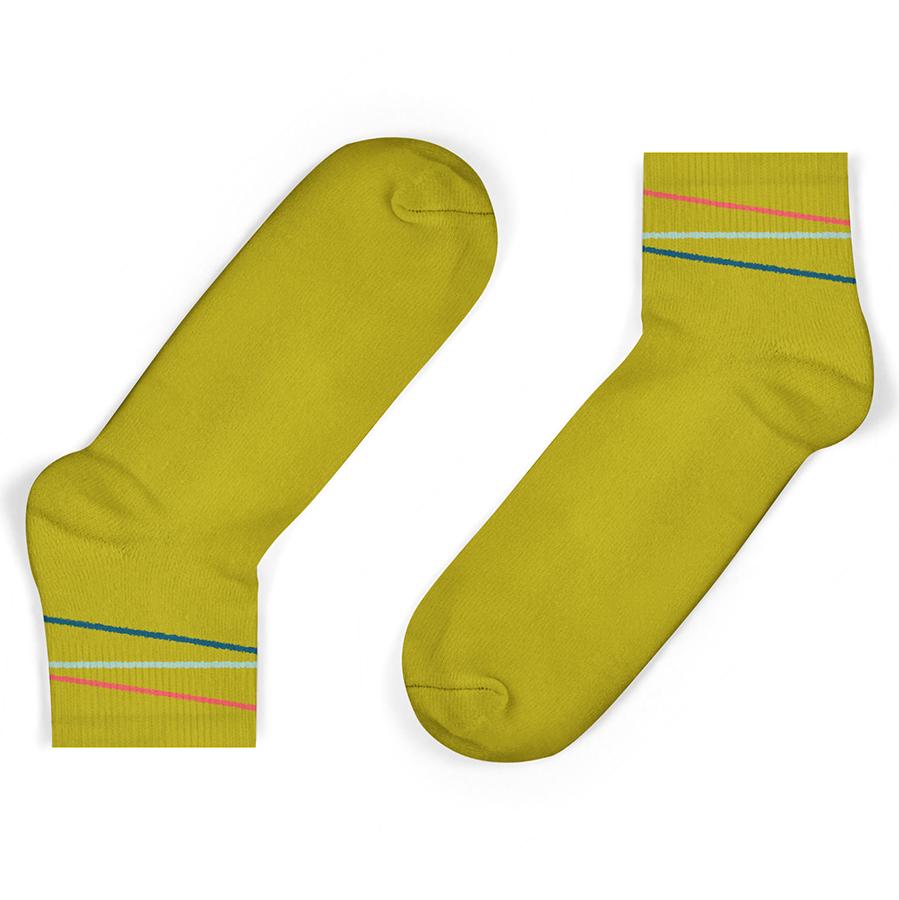 Unisock Kids Mustard Multi-Coloured Diagonal Stripes Ankle Socks