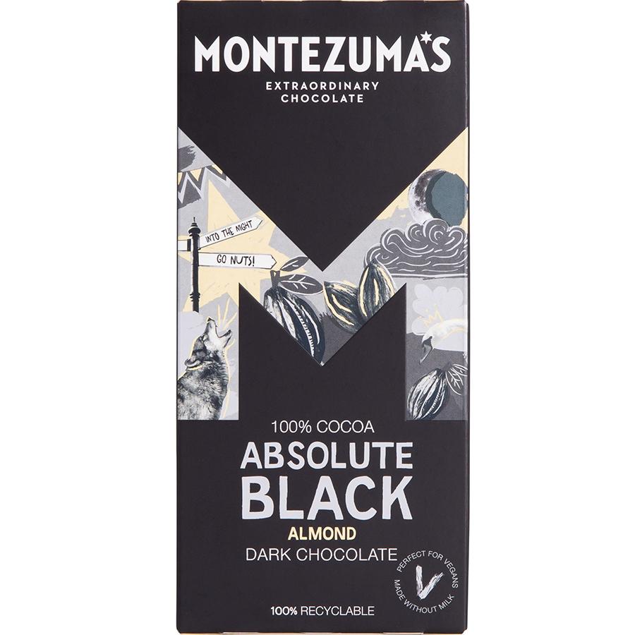 Montezumas Absolute Black with Almonds Chocolate Bar - 90g
