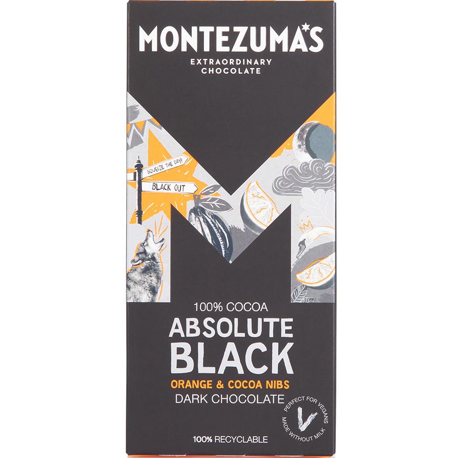 Montezumas Absolute Black with Orange & Cocoa Nibs Chocolate Bar - 90g