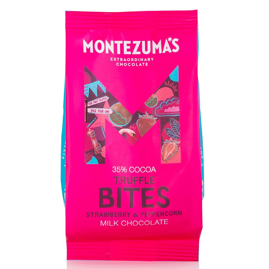Montezumas Milk Chocolate Truffles Bites with Strawberry & Peppercorn - 120g
