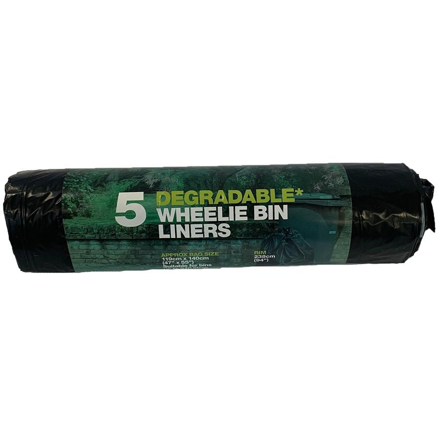 d2w Degradable Wheelie Bin Liners - 240L - Roll of 5