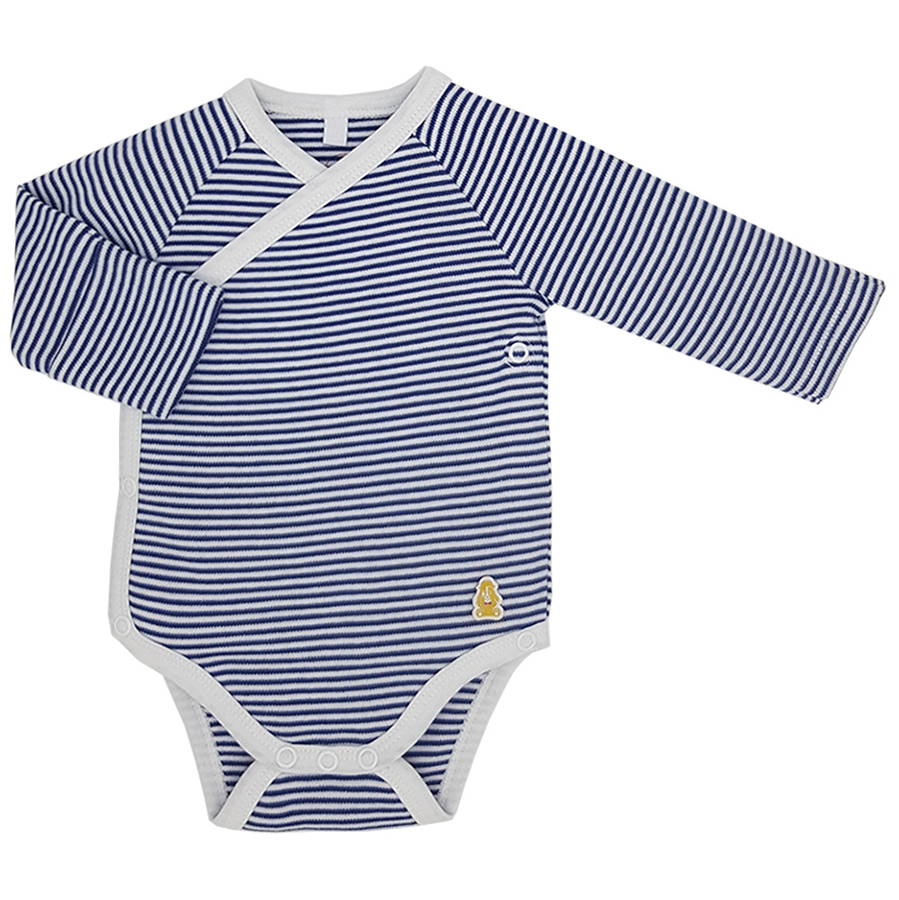 Teddley London Organic Kimono Bodysuit - Navy Blue Stripes