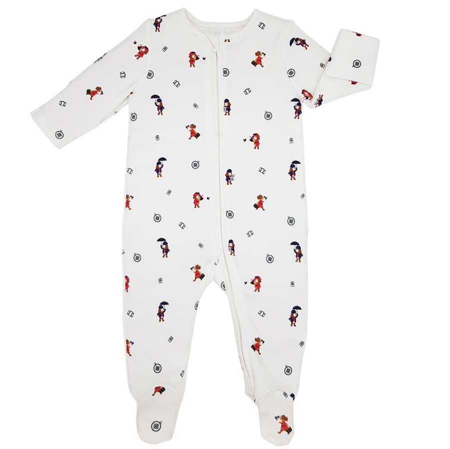 Teddley London Organic Footed Babygrow With Zipper - Travel Adventures