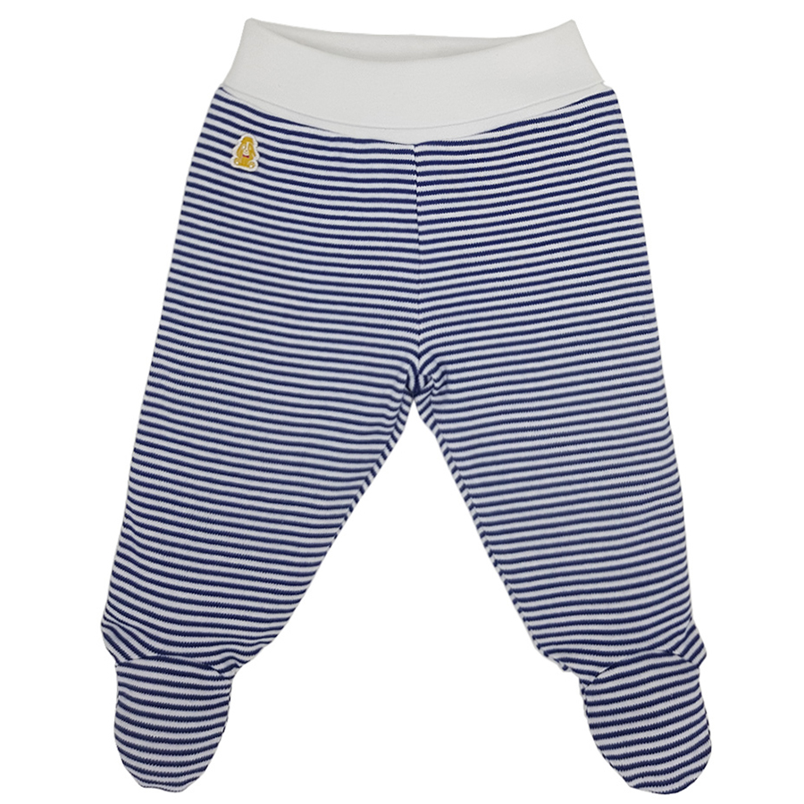 Teddley London Organic Footed Pants - Navy Blue Stripes