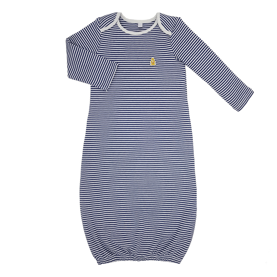 Teddley London Organic Sleeping Gown - Navy Blue Stripes