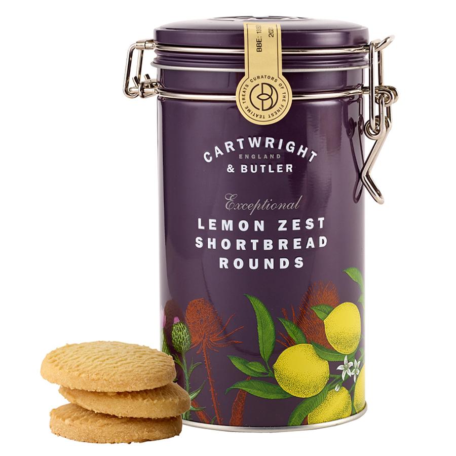 Cartwright & Butler Lemon Zest Shortbread Rounds in Tin - 200g