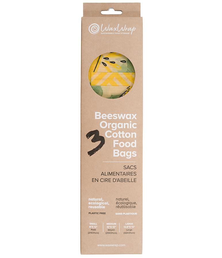 WaxWrap Reusable Organic Cotton Food Bags - Pack of 3