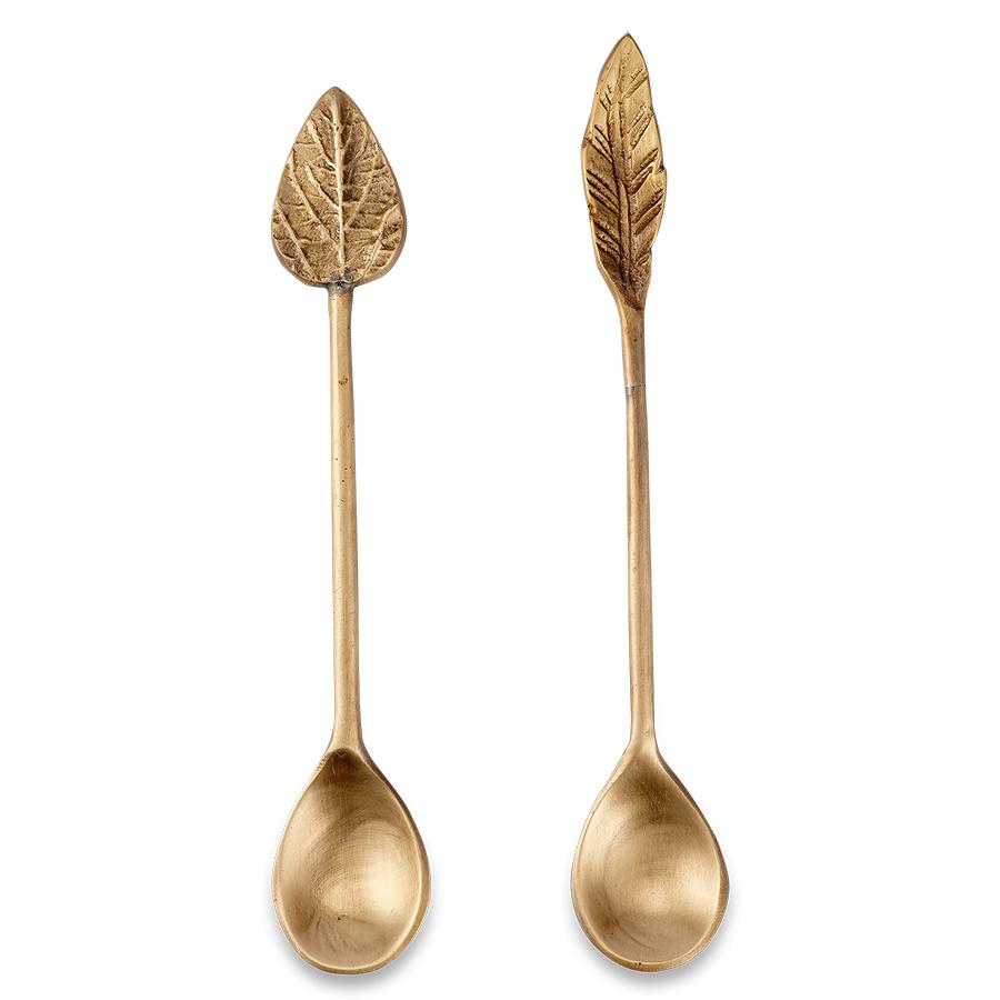Antique Brass Leaf Spoons - Set of 2