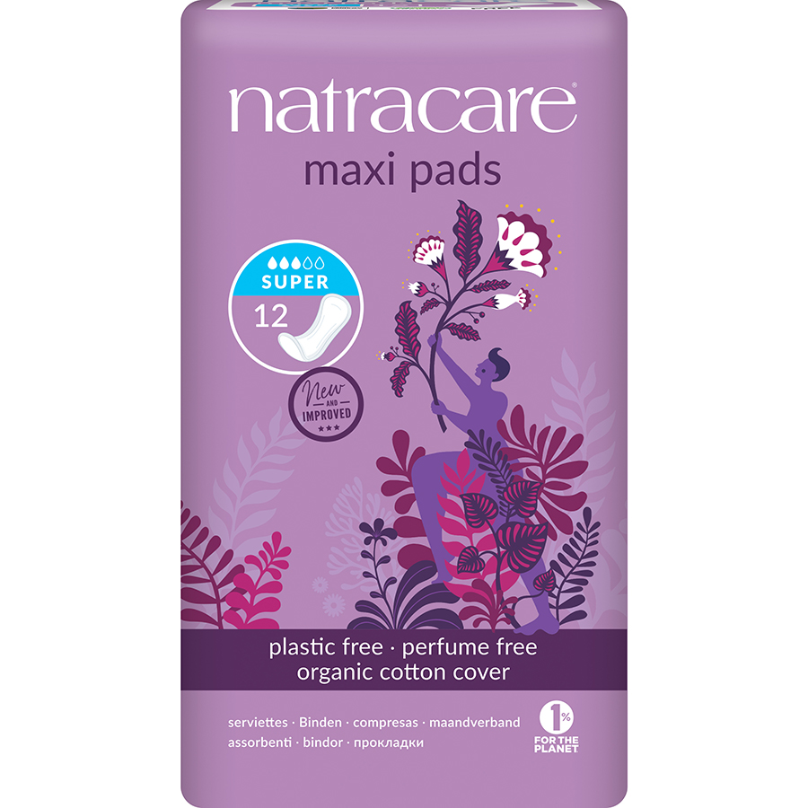 Natracare Organic Cotton Maxi Pads - Super - Pack of 12