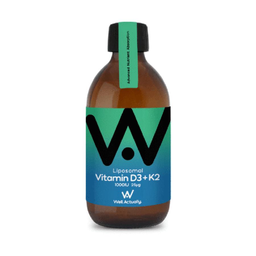 Well Actually Liposomal Vitamin D3 (1000IU) & K2 - 300ml