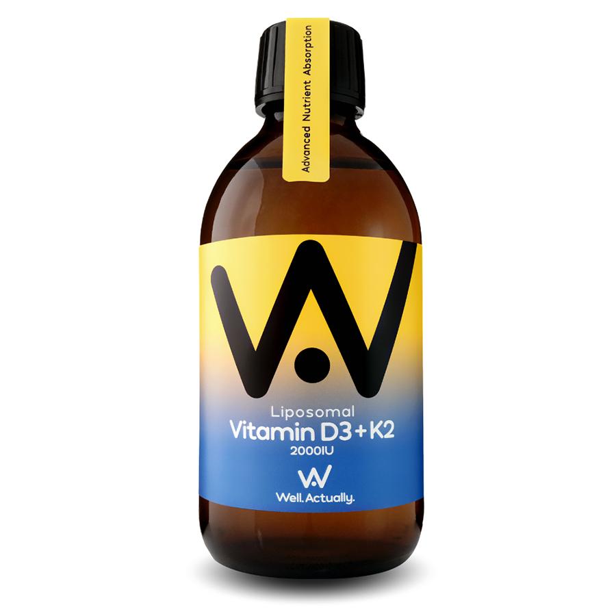 Well Actually Liposomal Liquid Vitamin D3 (2000IU) & K2 - 300ml