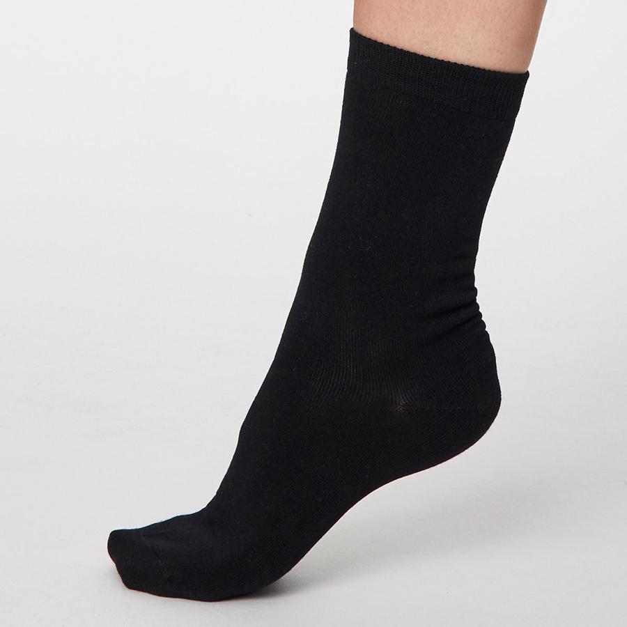 Thought Black Solid Jackie Bamboo Socks - UK 4-7