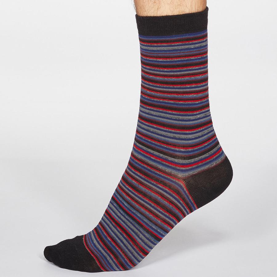 Thought Black Jacob Stripe Bamboo Socks - UK 7-11