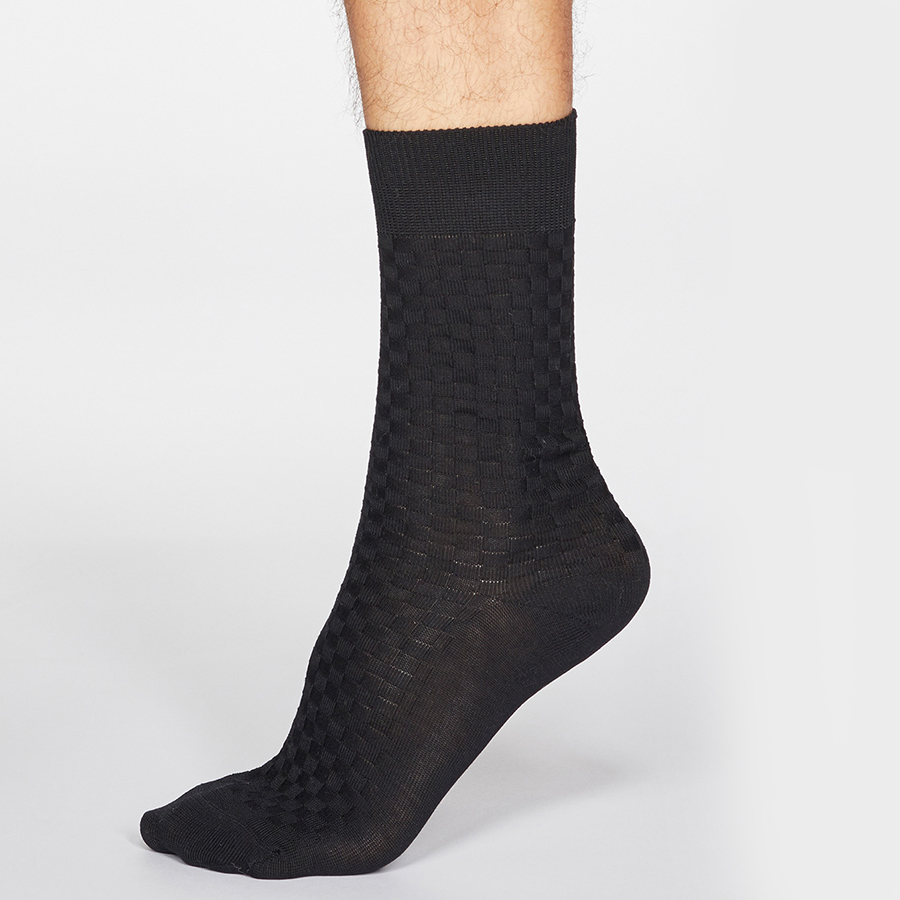 Thought Black Cameron Organic Cotton Dress Socks - UK 7-11