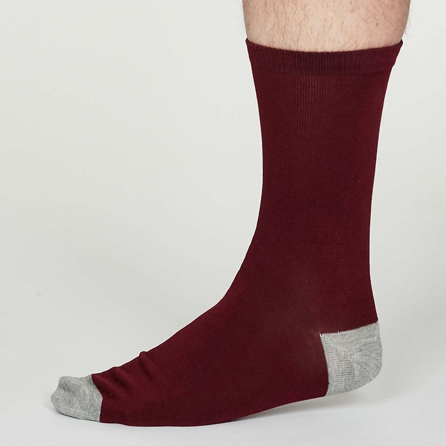 Thought Aubergine Solid Jack Bamboo Socks - UK 7-11