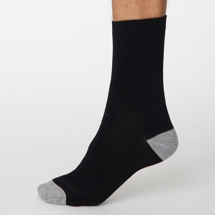 Thought Black Solid Jack Bamboo Socks - UK 7-11
