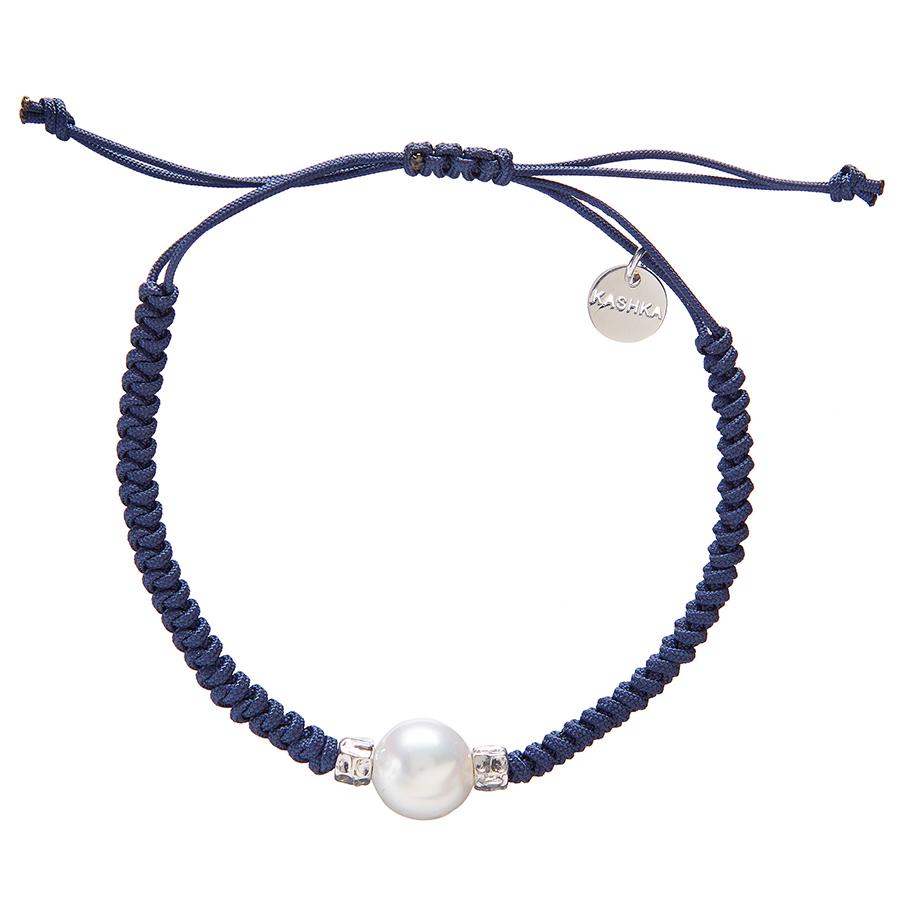 Kashka London Adira Fresh Water Shell Friendship Bracelet - Navy