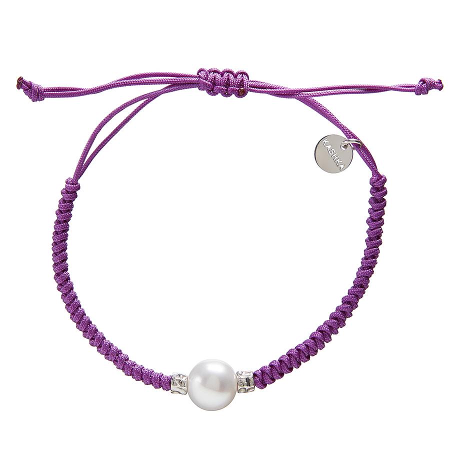 Kashka London Adira Fresh Water Shell Friendship Bracelet - Violet