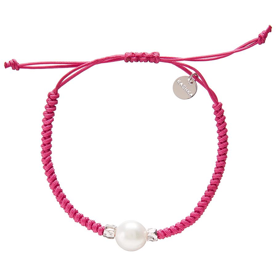 Kashka London Adira Fresh Water Shell Friendship Bracelet - Magenta