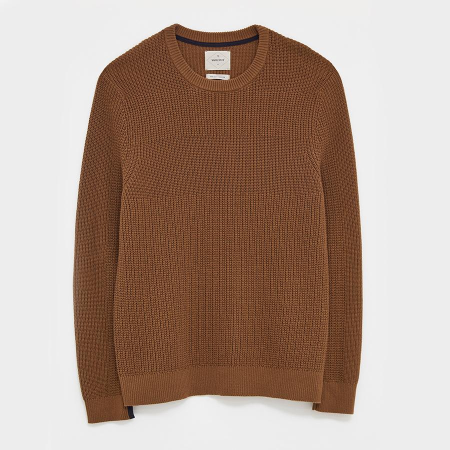 White Stuff Corrdon Texture Crew Neck Sweater - Mid Brown