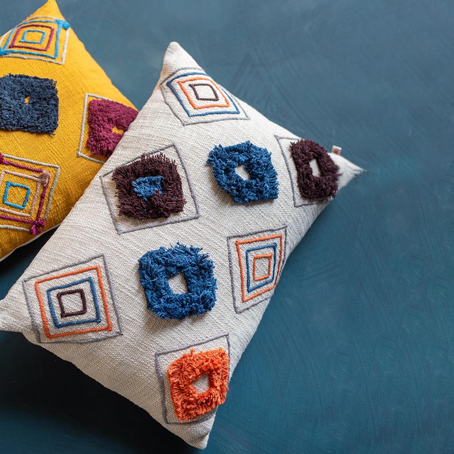 Ian Snow Cream Handloom Cushion Cover