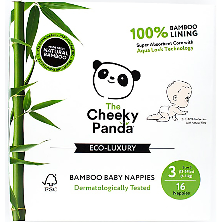 The Cheeky Panda Bamboo Baby Nappies - Size 3 - Pack of 16