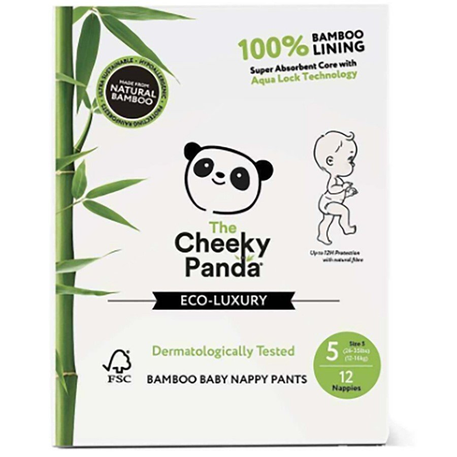 The Cheeky Panda Bamboo Baby Nappies - Size 5 - Pack of 12
