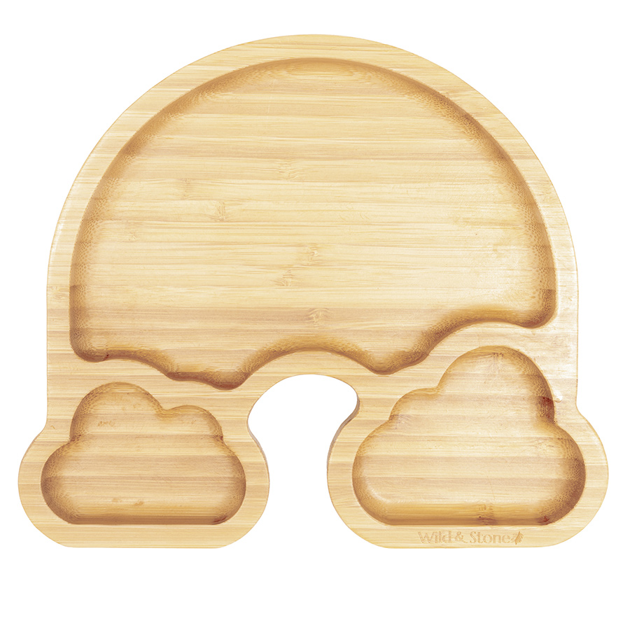 Wild & Stone Baby Bamboo Weaning Suction Section Plate - Over the Rainbow - Yellow