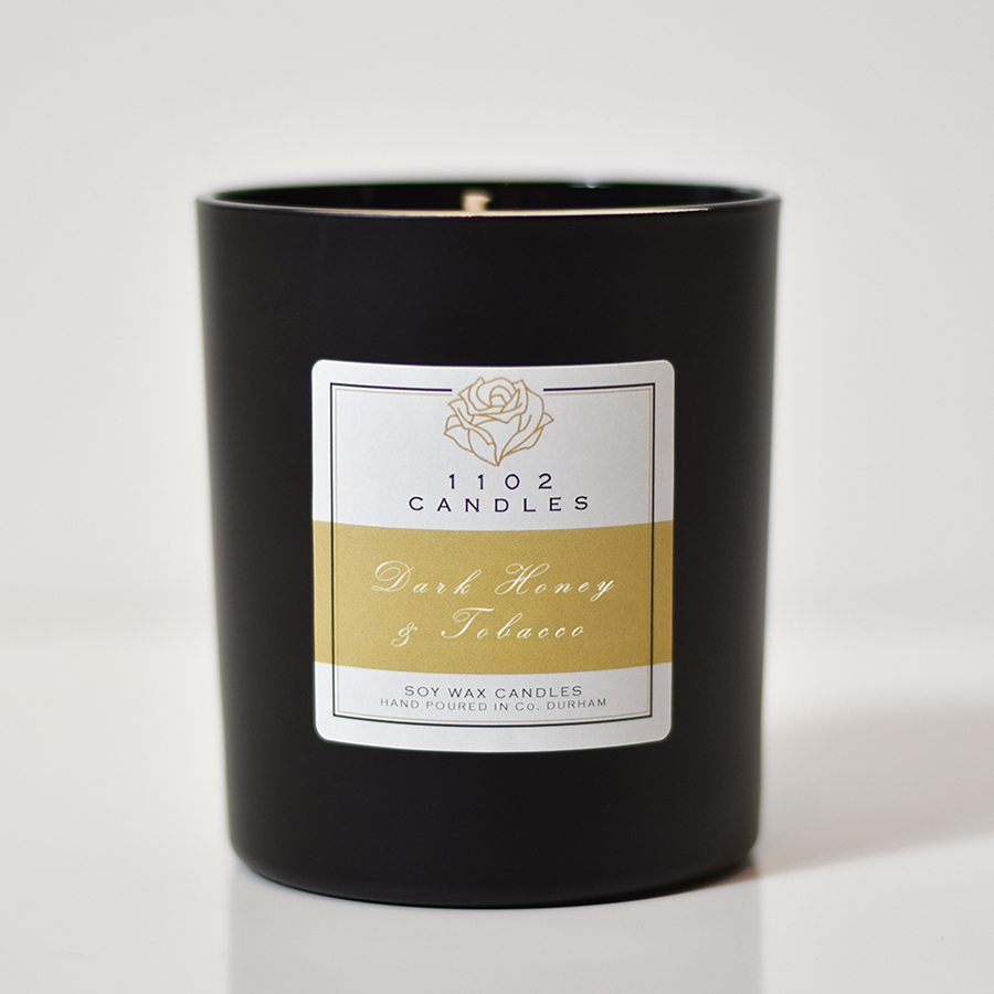 1102 Candles Dark Honey & Tobacco Scented Candle - Black