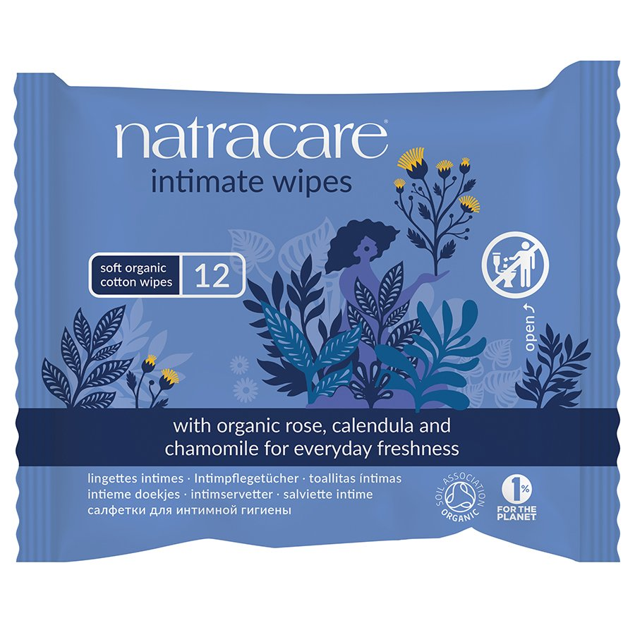 Natracare Organic Cotton Intimate Wipes - Pack of 12