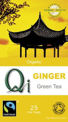 QI Organic Fairtrade Green Tea with Ginger - 25 Bags