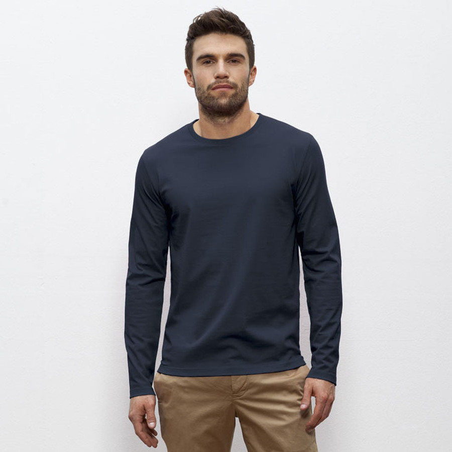 mens organic cotton round neck long sleeve t shirt