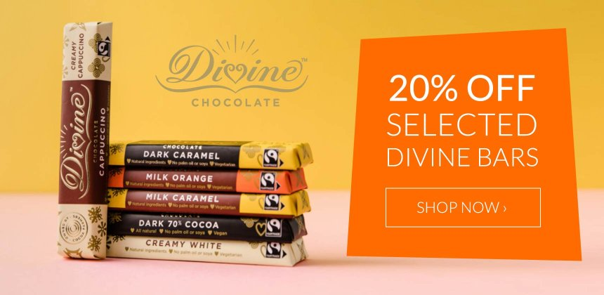 20% off selected Divine Fairtrade bars